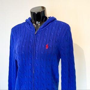 Ralph Lauren Sport Cobalt Blue Knitted Zip Up Sweater